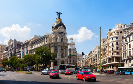 MADRID, SPAIN - AUGUST 29: The Crossing  Calle de Alcala and Gran Via on August 29, 2013 in Madrid, Spain.  One of the main streets of the city