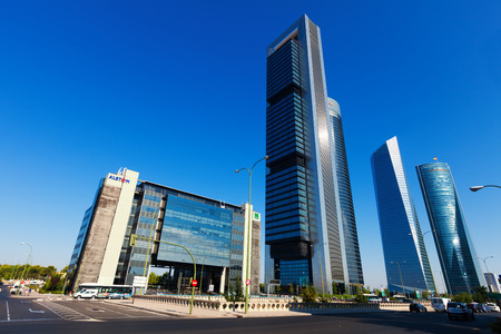 MADRID, SPAIN - AUGUST 29: Four Towers Business Area in August 29, 2013 in Madrid, Spain.  CTBA is business district located in Paseo de la Castellana