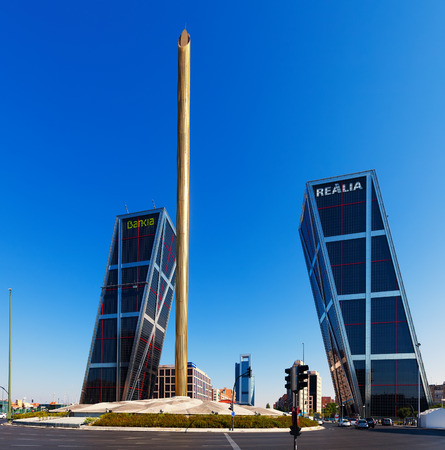 MADRID, SPAIN - AUGUST 29: Plaza de Castilla on August 29, 2013 in Madrid, Spain.   Caja Madrid Obelisk and KIO towers