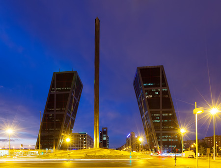 obelisco: Caja Madrid Obelisk and La Puerta de Europa in Madrid. Spain