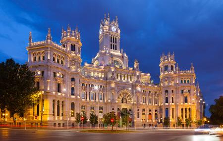 palacio de comunicaciones:   Palace of Communication in summer dusk. Madrid, Spain