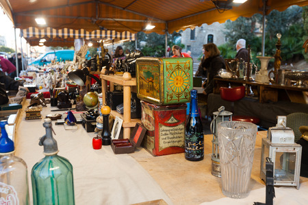 BARCELONA, SPAIN - FEBRUARY 20, 2014: Flea market   before Catedral de Barcelona