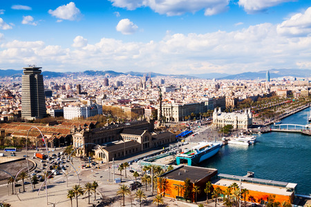 columb: Barcelona city from port side. Catalonia,  Spain Stock Photo