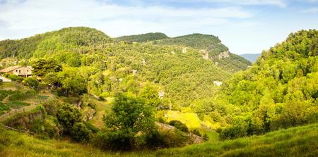 Panorama of catalan mountains landscape in summer. Collsacabra, Catalonia Stok Fotoğraf