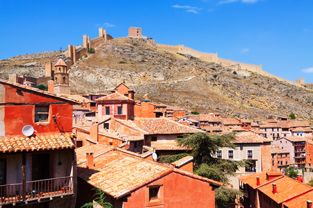 City wall of Albarracin on sunny summer day. Teruel, Spain photo