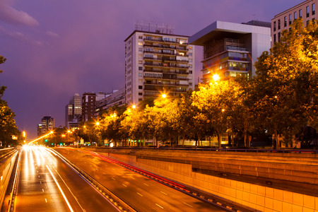 paseo: Paseo de la Castellana in evening   Madrid, Spain Stock Photo