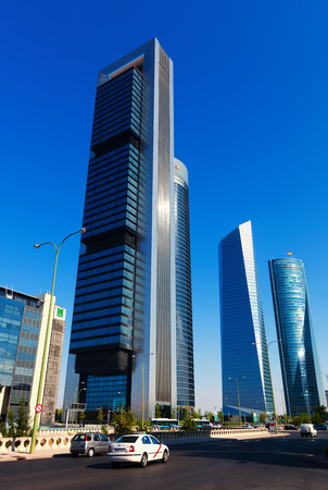 MADRID, SPAIN - AUGUST 29: Cuatro Torres Business Area in August 29, 2013 in Madrid, Spain.  CTBA is business district located in Paseo de la Castellana
