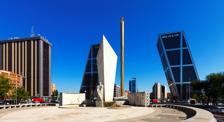 MADRID, SPAIN - AUGUST 29: Plaza de Castilla on August 29, 2013 in Madrid, Spain. Monument to Calvo Sotelo, Caja Madrid Obelisk and Puerta de Europa towers