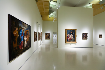 art museum: BARCELONA, SPAIN - AUGUST 8: Exhibits of National Art Museum of Catalonia in August 8, 2013 in Barcelona, Spain.  Baroque Art hall