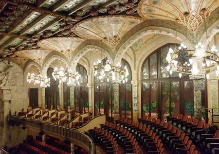 BARCELONA, SPAIN - NOVEMBER 7, 2013: Interior of Palace of Catalan Music in Barcelona, Catalonia.  Palace was built between 1905 and 1908