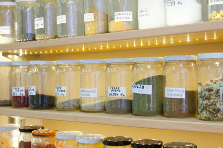 seasonings in jars at spanish store photo