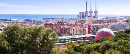 Panorama of Badalona and Sant Adria de Besos. Barcelona, Spain
