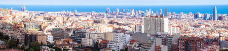Top panoramic view of  residence district in Barcelona in sunny day, Spain Stock Photo - 27045766