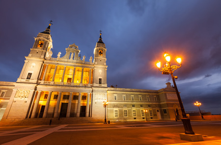 neogothic: Almudena cathedral at Madrid in twilight time. Spain