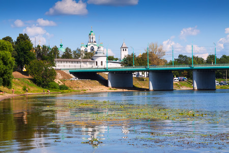 kreml: Holy Transfiguration Monastery from bridge through Kotorosl in Yaroslavl. Russia Stock Photo