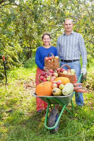 Man and woman with crop of vegetables in garden photo