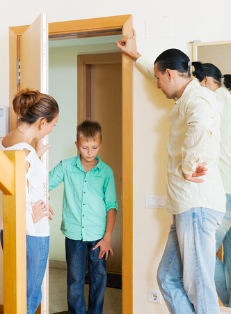 fracas: Parents meeting with scold of  son in door at home