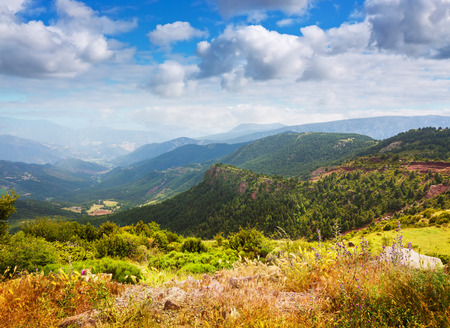 alt: View of Pyrenees mountains landscape in summer. Alt Urgell, Catalonia
