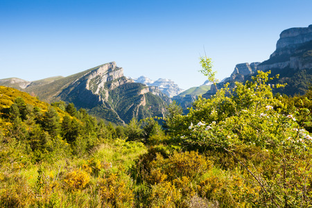 View of Pyrenees mountains landscape in summer. Huesca, Aragon