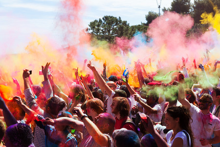 BARCELONA, SPAIN - APRIL 6, 2014: IV Festival de los colores Holi Barcelona. Holi is traditional holiday of Hindustani Culture Editorial