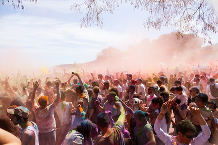 BARCELONA, SPAIN - APRIL 6, 2014:  Festival of colors Holi Barcelona. It is traditional holiday of Indian Culture