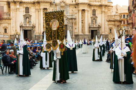 semana santa: MURCIA, SPAIN - APRIL 15, 2014: Semana Santa in Murcia. Holy Week is  annual commemoration  by Catholic religious brotherhoods, processions on  streets of Spanish city and town