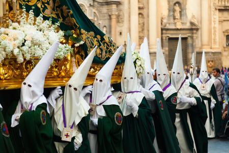semana santa: MURCIA, SPAIN - APRIL 15, 2014: Semana Santa in Murcia. Semana Santa -  processions on  streets of Spanish cities and town