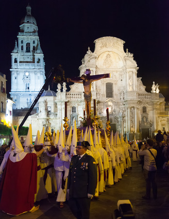 semana santa: MURCIA, SPAIN - APRIL 15, 2014: Night procession during Semana Santa in Murcia. Semana Santa or Holy Week is Christian religious processions on  streets of Spanish cities