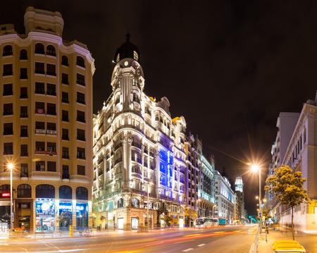 gran via: MADRID, SPAIN - APRIL 26: Shot of Gran Via in night in April 26, 2013 in Madrid, Spain. Gran Via one of broadest and important avenues at city