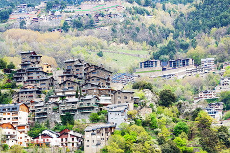 Residence district at mountains. Pyrenees, Andorra Stock Photo - 27908393