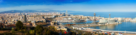 Panoramic view of Barcelona with Port in  day.  Spain