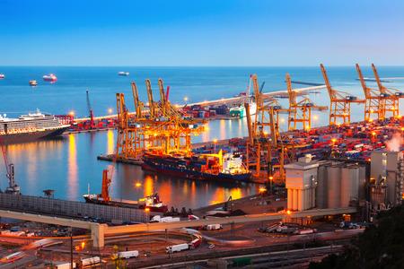 Industrial port de Barcelona in evening. Spain photo