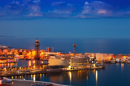 Port Vell in night. Barcelona, Spain photo