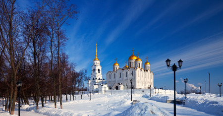 Assumption cathedral  at Vladimir in winter, Russia. Constructed between 1158-1160 photo
