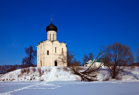 build in: Church of the Intercession on the River Nerl (build in 1158) in winter. Russia