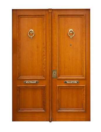 wooden double doors. Isolated over white background photo