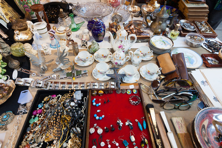 BARCELONA, SPAIN - FEBRUARY 20, 2014: Old  things at flea market  before  Cathedral