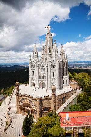 lasted: BARCELONA, SPAIN - MAY 18: Expiatory Church of  Sacred Heart of Jesus in May 18, 2013 in Barcelona, Spain.  Construction of the temple dedicated to the Sacred Heart, lasted from 1902 to 1961