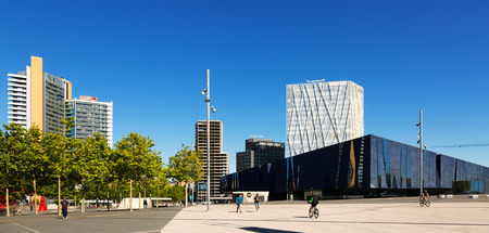 blau: BARCELONA, SPAIN - MAY 3, 2014: New moder district and Museu Blau in Barcelona, Spain