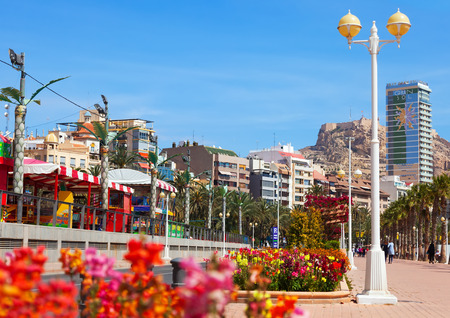 ALICANTE, SPAIN - APRIL 14, 2014: Embankment in Alicante. Avenue Admiral July Guillen Tato. Place for walking residents and vacationers