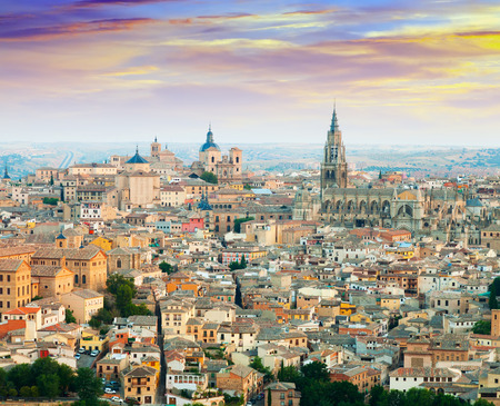 General view of Toledo from hill in morning. Castile–La Mancha, Spain photo