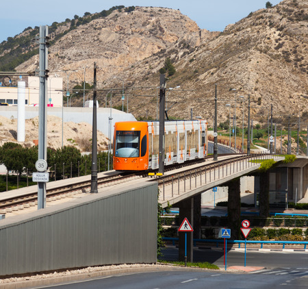 tramway: ALICANTE, SPAIN - APRIL 14, 2014: Ordinary tramway in Alicante. Spain