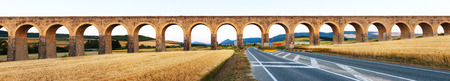 acueducto: Panorama of  aqueduct near Pamplona. Navarre, Spain