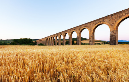 acueducto: Acueducto near Pamplona by architect Ventura Rodriguez. Navarre. Spain  Stock Photo