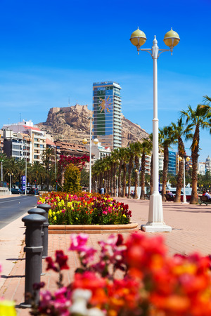 ALICANTE, SPAIN - APRIL 14, 2014: Avenue Admiral July Guillen Tato in Alicante. Place for walking residents and vacationers at seaside of Mediterranean