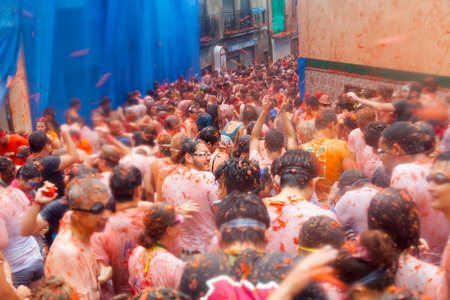 madness: BUNOL, SPAIN - AUGUST 28: La Tomatina festival - tomatoes madness in August 28, 2013 in Bunol, Spain. People fighting with tomatoes Editorial