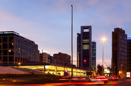 MADRID, SPAIN - AUGUST 28: Plaza de Castilla  in August 28, 2013 in Madrid, Spain.  Bus terminal and Torre Caja Madrid