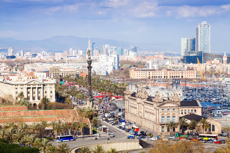 columb: view of Barcelona from high point in cloudy day in Catalonia  Stock Photo
