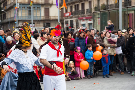 mummery: BARCELONA, CATALONIA - MARCH 2, 2014: People at Carnival Balls to the Popular Culture and Traditional Catalan   Editorial
