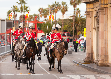 BARCELONA, SPAIN - JANUARY 5, 2014: Cavalcade of Magi in Barcelona, Spain.  Horse retinue